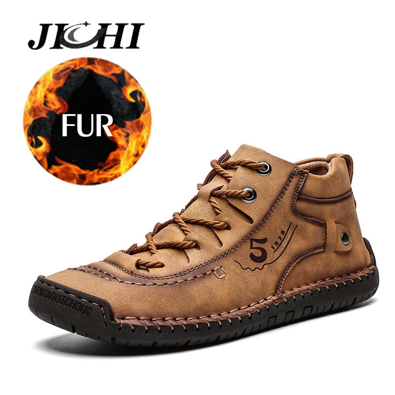 2019 Winter Shoes Men Warm Leather Men Boots Casual Comfortable Flat Male Winter Snow Boots Waterproof Lace-up Shoes Big Size