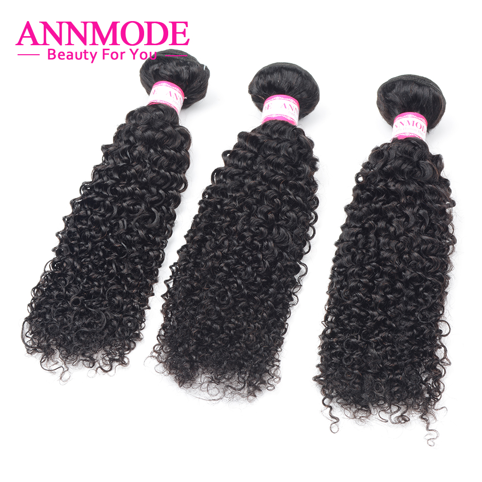 Annmode Malaysian Hair Bundles Kinky Curly Weave Human Hair Bundles 3/4pc Natural Color Hair Extensions Non Remy Hair Weave