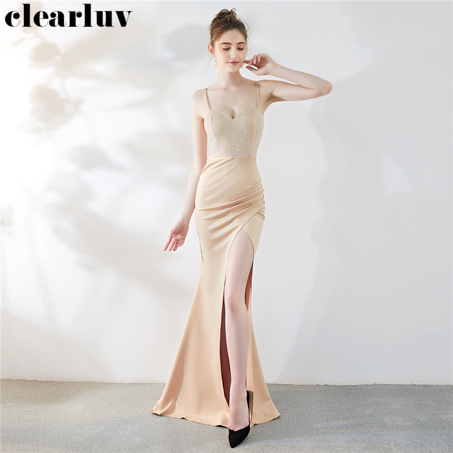 Sexy Split Evening Dress Strapless Sling Women Party Dress DX277-5 2019 New Plus Size Robe De Soiree Long Backless Formal Gowns