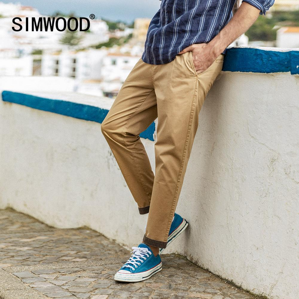 SIMWOOD 2020 Summer New Pants Men Casual Garment Dyed Ankle-length Trousers Striped Turn Up Cuffs Plus Size Chinos SI980556