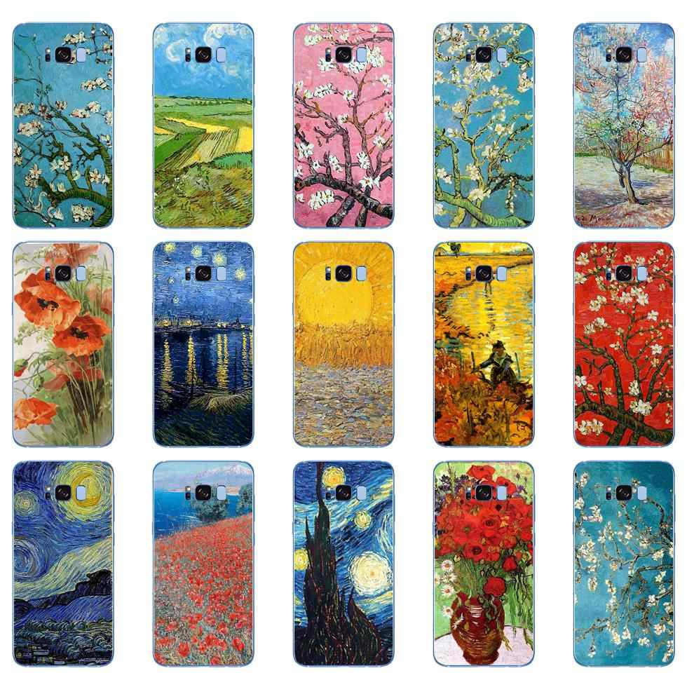 Vincent van Gogh sunflower cherry blossom starry Soft Silicone Cover Case for Samsung Galaxy S6 S7 edge S8 S9 S10 plus A70 A50