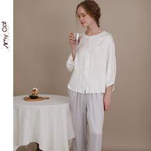 Осенняя домашняя пижама с феей универсальная атласная рубашка