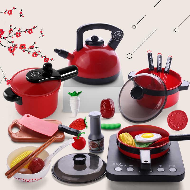 Infantile Brillante Set Da Cucina per Bambini Cucina Giocattolo della Casa del Gioco Del Bambino di Cottura Cuoco Modello Infantili Da Cucina Piatto Caldo Gioco della Serie giocattoli e cibo