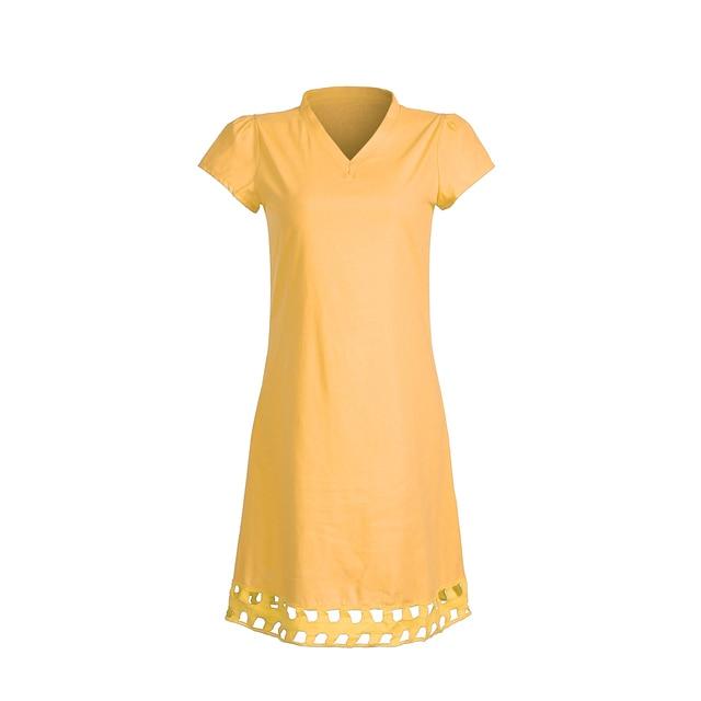 New Women Short Sleeve Dress Solid V Neck Summer Beach Cotton Linen Casual Kaftan Maxi Loose Tops Dresses Plus Size S-3XL 4