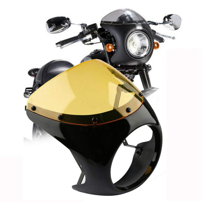 Motorcycle Headlight,Motorcycle Quarter Fairing Windshield Headlight Fairing Screen Retro Racer Style Universal Screen Fit 7 Inc