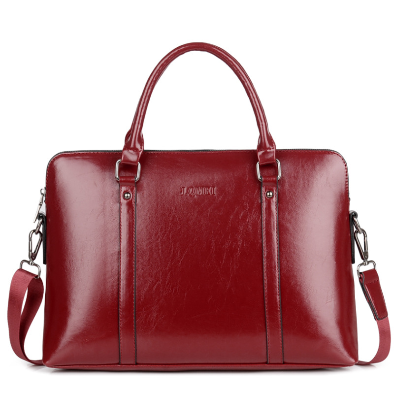 Retro Waterproof Briefcase Laptop Handbag Woman 14 15.6 Inch Large Capacity Pu Leather Shoulder Laptop Bag For Women Tote