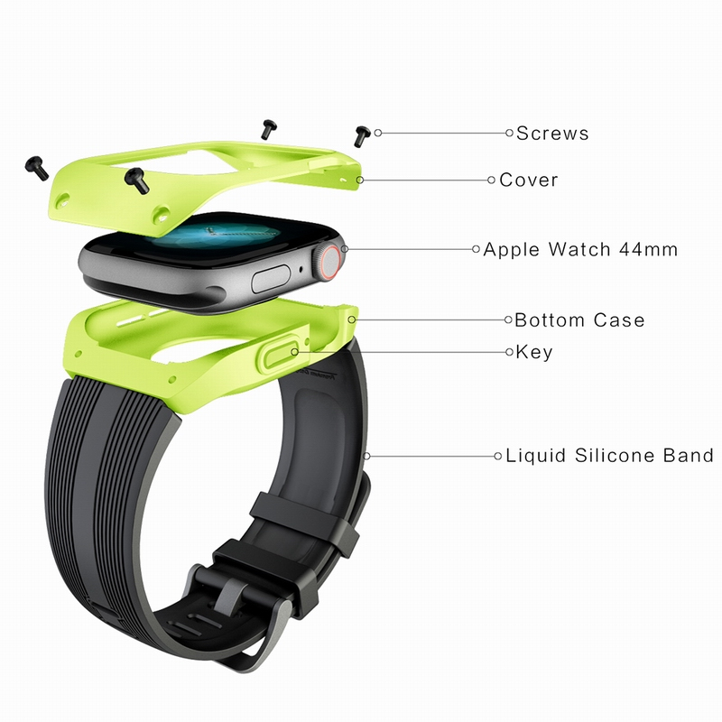 Sport Silicone Band With Protective Case Cover For Apple Watch Series 4 44mm Strap Bracelet Silicone Watchband For IWatch 4 44mm