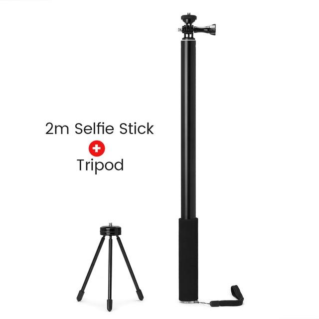 2m aluminum alloy monopod selfie stick for insta360 one x/x2 /dji osmo action/pocket/gopro hero 7 6 5 sjcam camera accessories