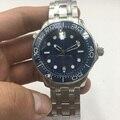 Reloj mecánico automático 007 para hombre, bisel de cerámica, resistente al agua, fecha luminosa, acero inoxidable, correa sólida, esfera azul, 43mm XG