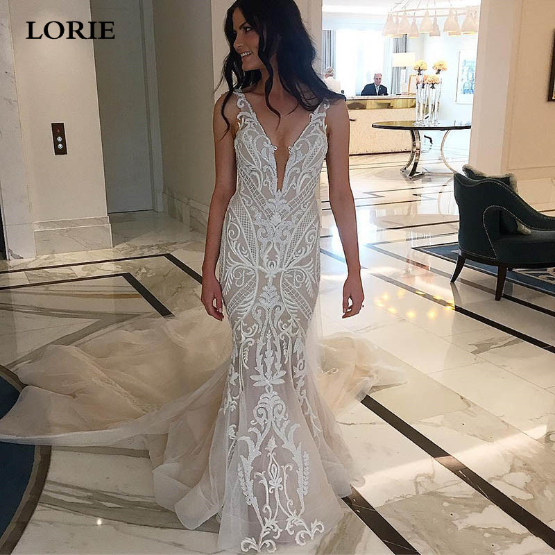 LORIE Sexy Mermaid Wedding Dress Appliqued Lace Deep V Neck Bride Dresses Detachable Train Backless Vestidos De Novia