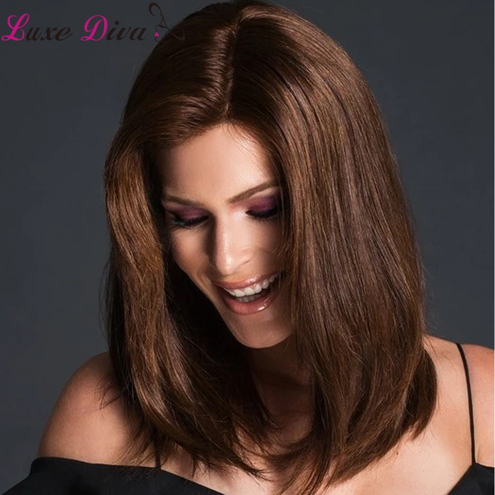 #4 #2 Natural Color Lace Front Human Hair Wigs Colored Brazilian Straight Hair Luxediva Remy Human Hair Short Lace Wig For Women