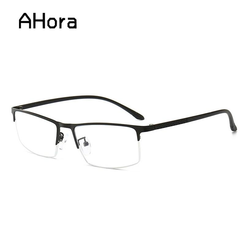 Ahora Anti mavi işınları erkekler okuma gözlüğü erkek yüksek kaliteli Metal yarım çerçeve presbiyopik okuma gözlüğü + 1.0 1.5 2 2.5 3 3.5
