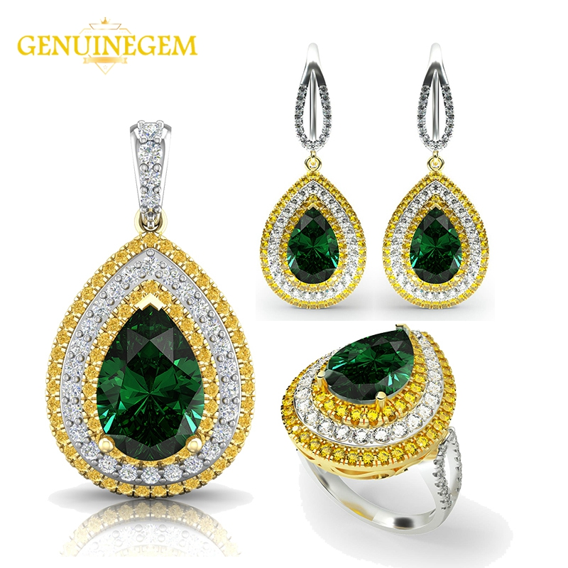 GENUINEGEM Gold Color Vintage Emerald Women 925 Sterling Silver Necklace Earrings Ring Jewelry Sets Wedding Fine Jewelry Sets