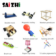 Saizhi 9 Pcs DIY Physical Science Experiment Toy set Children Airplane Car Wood Assemble Model Kit Creative Educational Gift(China)