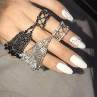 925 Sterling Silver Rings for Women with Double Tassel Rings with Crystal droplets White and Black Color Luxury Jewelry