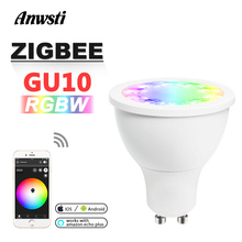 RGBW GU10 Spotlight Zigbee Smart Home AC 110V 230V 220V Zigbee 3.0 5W GU10 LED Light Bulb Work with Amazon Echo Plus SmartTing paulmann spotlight window 4x5w chr kl 230v mt ac