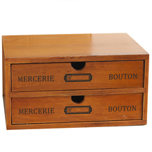 Small Wooden Desktop Storage Box Storage Box with Drawers 2 Drawers