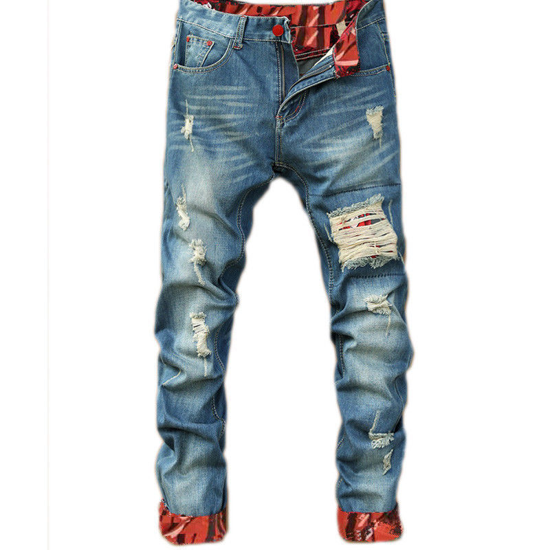 Man Motorcycle Jeans Shinny Ripped Holes Fit Denim Scratches High Quality Jeans For Men Plus Size Fashion Jeans