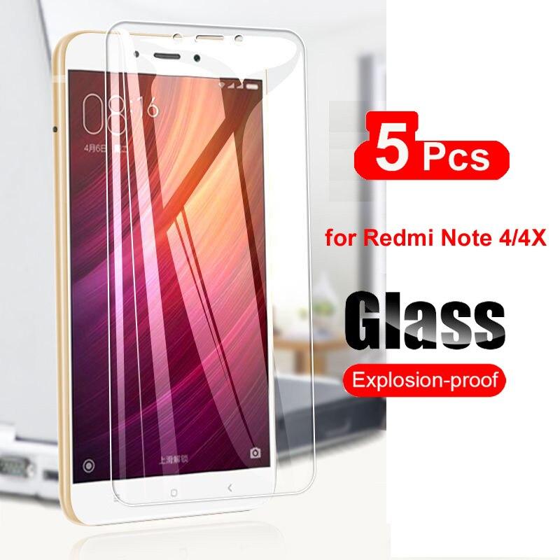 5Pcs Tempered Glass For Xiaomi Redmi Note 4 4X 4A Screen Protector For Xiaomi Redmi Note 4X Glass Transparent Film 9H