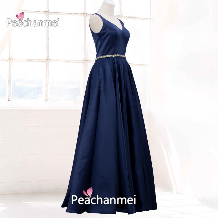 Satin A Line Formal Evening Dress Long Sash Robe De Soiree Prom Dress  With Pockets V-Neck Military Sexy Ball Gowns
