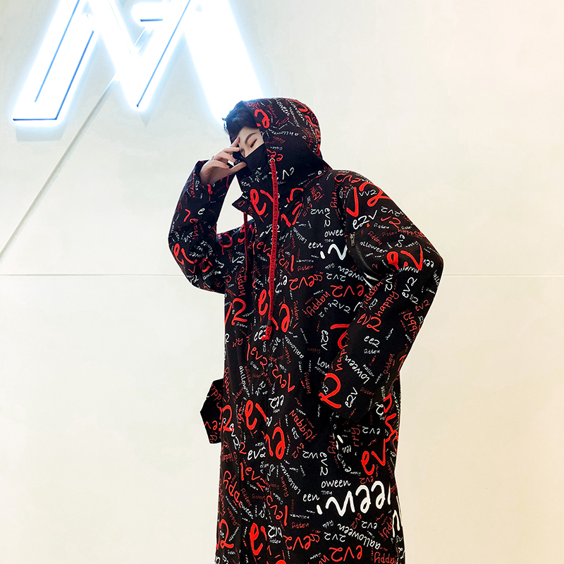 Long Jacket Trench Mens Full Letter Printed Harajuku Hooded Windbreaker Hip Hop Autumn Winter Overcoat Male Casual Outwear