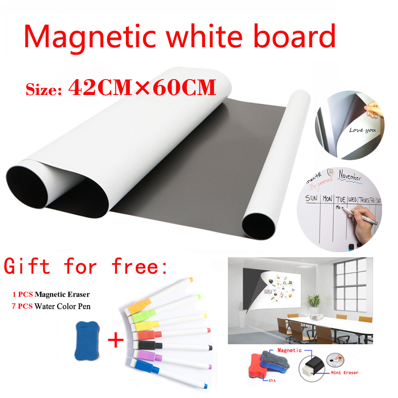 Size 42CMx60CM Magnetic WhiteBoard Fridge Magnets Dry-erase Calendar Kids School Board Memo White Board Gift 7 Pen And 1 Erasser