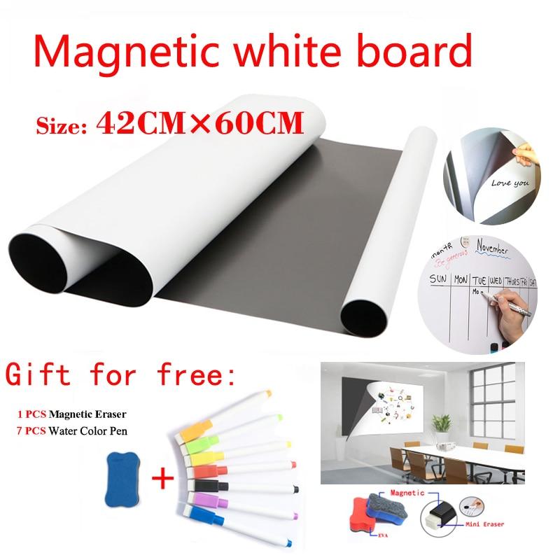 Size 42CMx60CM Magnetic WhiteBoard Fridge Magnets Dry-erase Calendar Kids School Board Memo White Board Gift 7 Pen And 1 Erasser