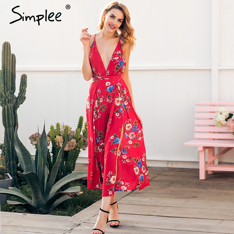 Simplee Sexy V Neck Backless Print Jumpsuit Romper Women Lace Up Halter High Waist Short Overalls Split Wide Leg Summer Jumpsuit