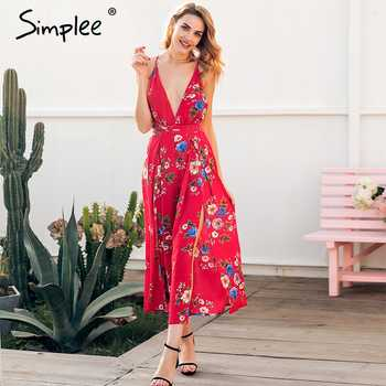 Simplee Sexy v neck backless print jumpsuit romper women Lace up halter high waist short overalls Split wide leg summer jumpsuit - DISCOUNT ITEM  45% OFF All Category