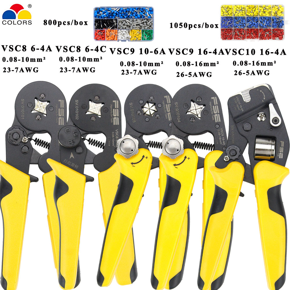 VSC9-16-4A 0.08-16mm^2 23-5AWG VSC10 16-4A Adjustable Precise Crimp Pliers Tube Bootlace 800/1050 Terminal Crimping Hand Tool