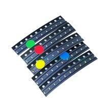 500 Uds = 5 colores x 100 Uds 1206, 0805, 0603, 0402 SMD Kit de diodo LED rojo/Verde/azul/blanco/amarillo