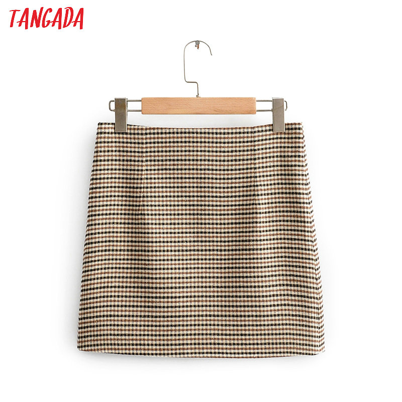 Tangada Women Plaid Mini Skirt Faldas Mujer Vintage Back Zipper Office Ladies Elegant Chic Short Skirts QJ130