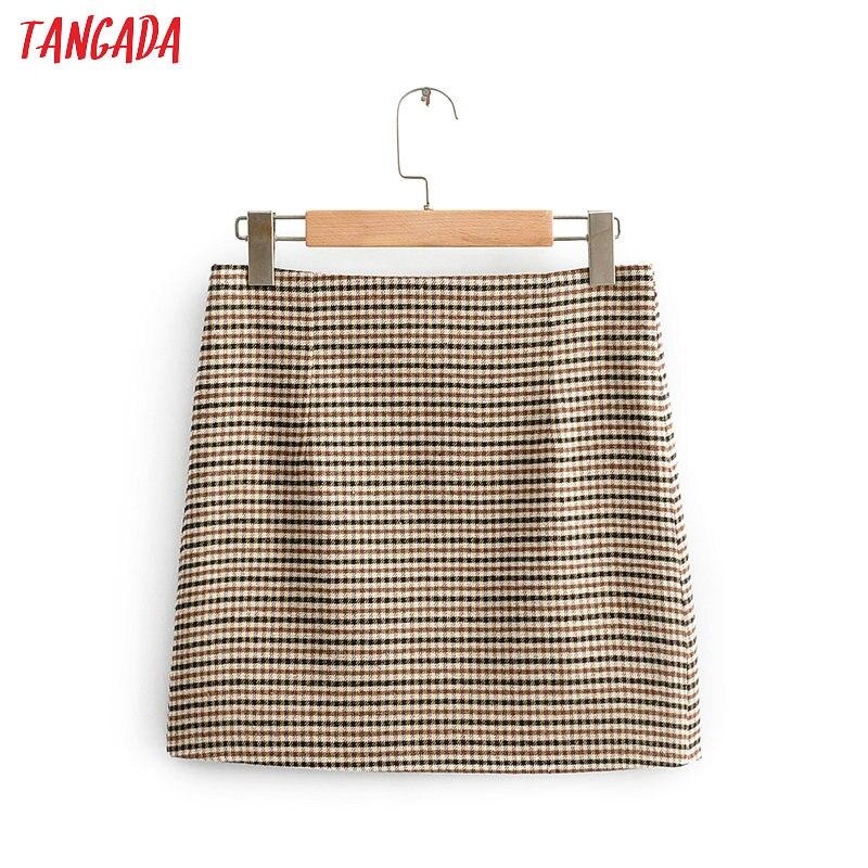 Tangada Women Plaid Mini Skirt Faldas Mujer Vintage Back Zipper Office Ladies Elegant Chic Short Skirts QJ130