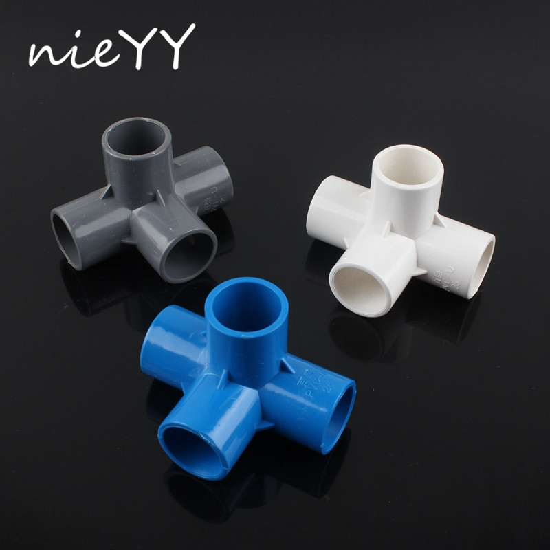 2pcs 25Mm Water Pipe Connector Solid PVC Connectors Greenhouse Plant Watering Main Fitting 4 Ways Stereo Joints
