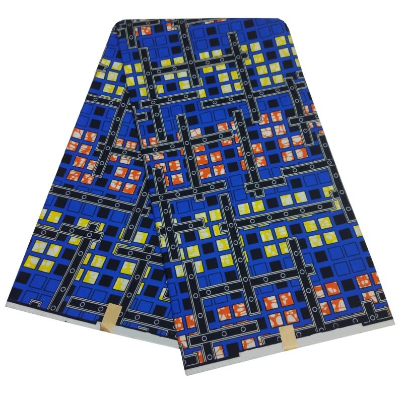 African Wax Print Ankara Fabric 6yards Ankara African Blue Pattern Printed Polyester Wax Fabric For Dress