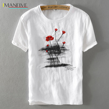 2019 Summer new mens linen t-shirt classic round neck loose casual white t shirt men short sleeve embroidery tshirt camisa