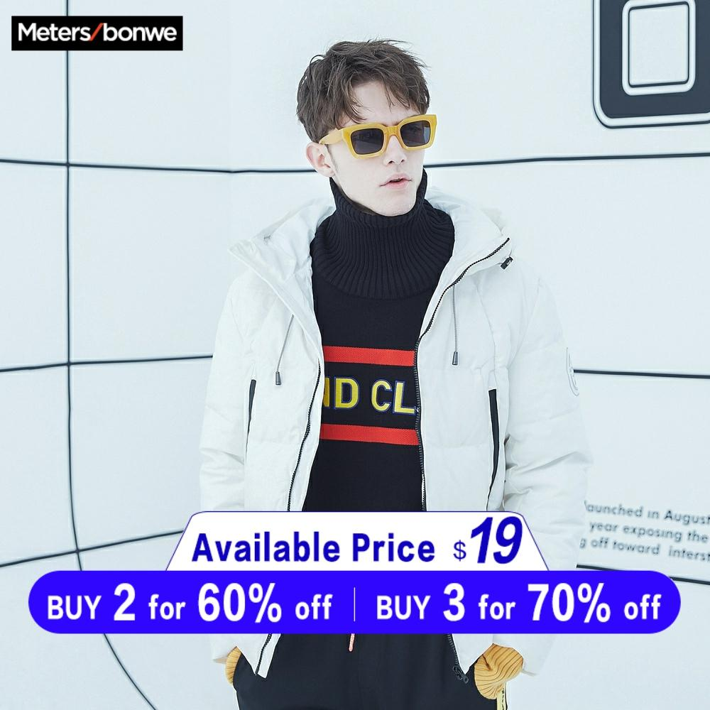 Metersbonwe 2019 Down Jacket Men Badge Winter Warm 90% White Duck Down Coat Camouflage Color Lining Hooded Man Coat Outwear