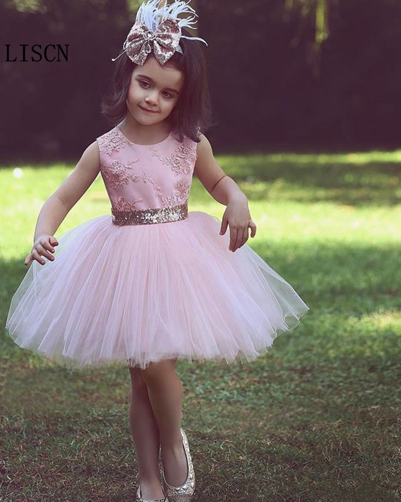 Appliques Ball Gown Gold Puff Tulle Short Sequined Bow Belt Pink Princess   Flower     Girl     Dress   Lovely Kids Lace Birthday Pageant
