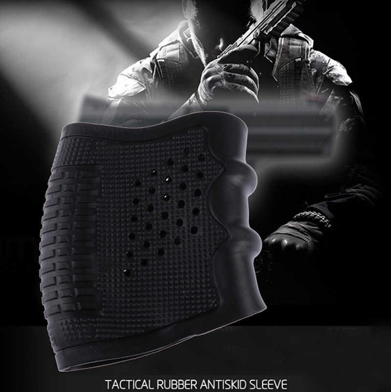 戦術的なピストル拳銃ゴム軍事アクセサリースリーブアンチスリップエアガン撮影狩猟ブラックガングリップグローブ保護カバー