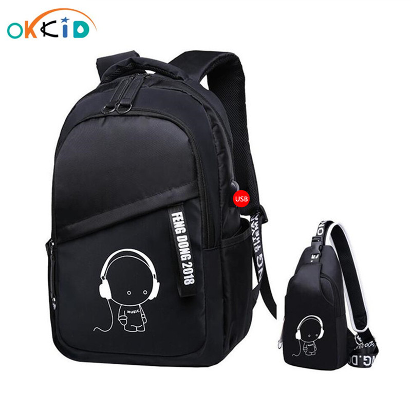 2pcs/set School Bags For Kids Boys Bookbag Shoulder Bag Children Backpacks School Backpack For Boy Chest Bag Pack Man Back Pack