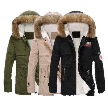 Parkas con capucha y Cuello de piel para hombre de chaqueta térmica...
