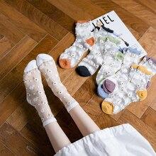 Summer Female Transparent Small Daisy Embroidery Socks Women Fashion Glass Silk Short Socks