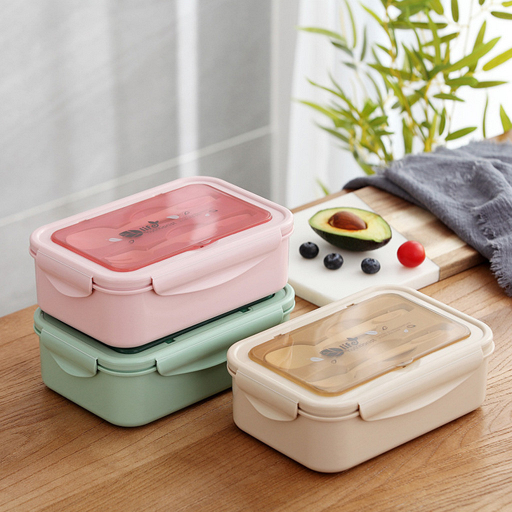 Microwave Oven <font><b>Lunch</b></font> <font><b>Box</b></font> <font><b>Food</b></font> <font><b>Container</b></font> Student Office Bento Heated Lunchbox Straw Wheat Korean Plastic <font><b>Box</b></font> With Cutlery #LR1 image