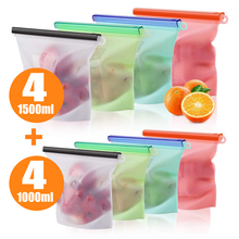 1000ml 1500ml Reusable Silicone Food Storage Bag Eco Ziplock Seal Bags Container For Freezer Fresh