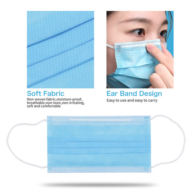 High Quality 3 Layers Disposable Anti-Virus Mask Protective Face Mask Anti-bacterial Proof Flu Meltblown Cloth Masks 2