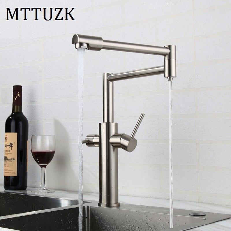 MTTUZK noir chaud froid pur eau 3in1 robinet de cuisine pur robinet mélangeur d'eau potable Double sortie d'eau robinet pliant robinet