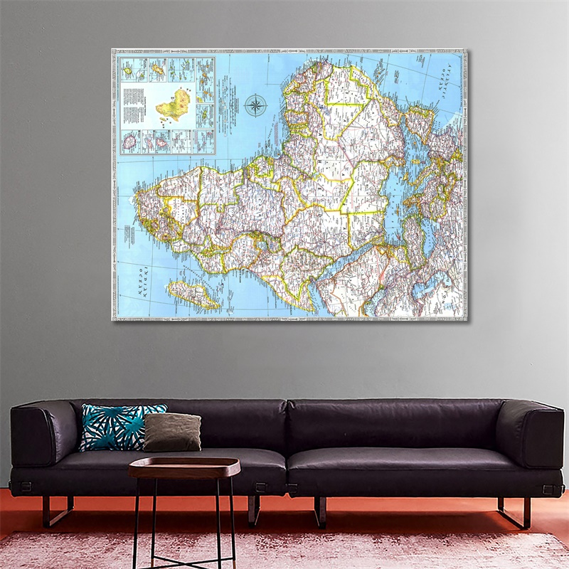1990 Edition African Map HD Non-woven Foldable Spray Painting Lounge Hall Posters And Prints Wall Decor Map 100x150cm