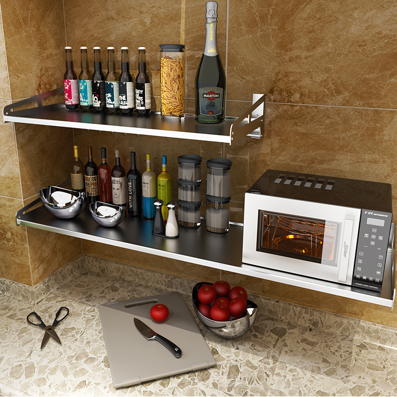 Wall mounted kitchen rack microwave oven bracket 304 stainless steel wall electric cooker oven rack 1 floor rack