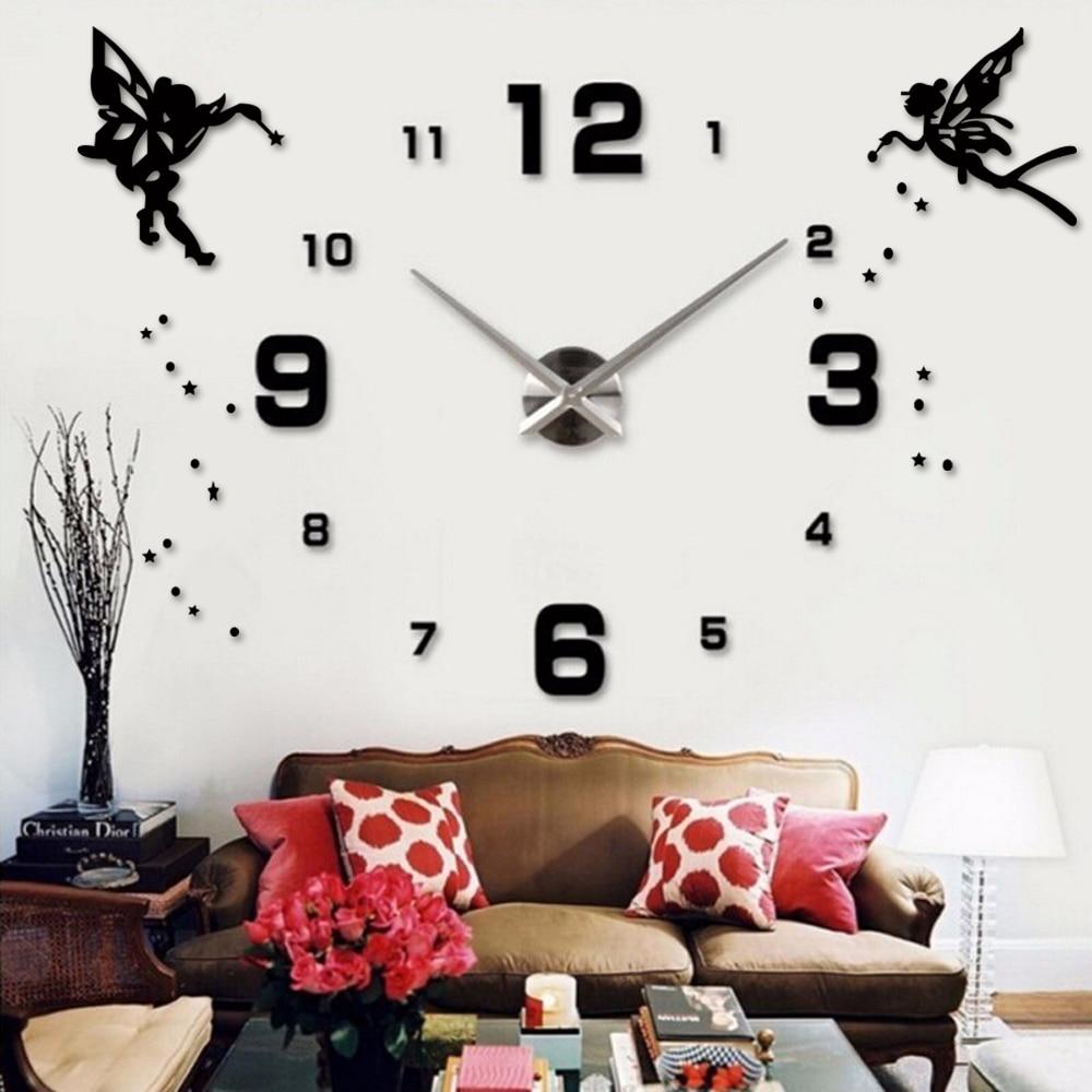 Acrylic Silent Large Wall Clock Modern Design Self Adhesive Angel Sticker DIY 3D Wall Clock Digital For Kid Living Room Decor