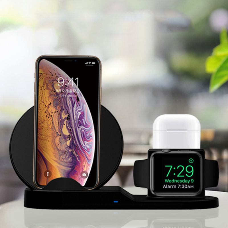3 in 1 Fast Charging Dock QI Wireless Charger for Apple Watch / iPhone/AirPods